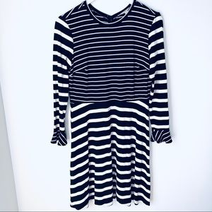 Loft Striped Scoop Neck Ruffle Cuffs Dress